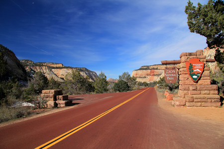 Entrance to Zion National Park in the state of Utah