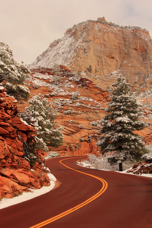 wintery: Wintery Roadway in Zion National Park in the state of Utah