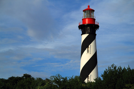 Historic St. Augustine Lighthouse on Florida's Atlantic Coast Stock Photo