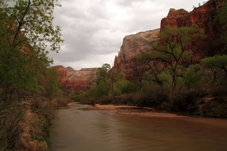 The majestic North Fork of the Virgin River as it winds through Zion Canyon in Zion National Park, Utah