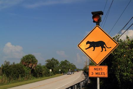 Panther Crossing Sign in Collier Seminole State Park, Florida Everglades Stock Photo