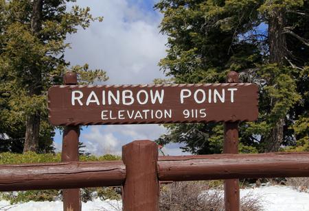Rainbow Point Elevation Sign, Bryce Canyon National Park, UT Stock Photo