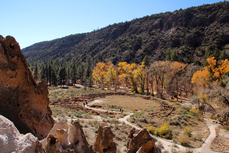 Ancient Anasazi Ruins in Bandelier National Monument, New Mexico