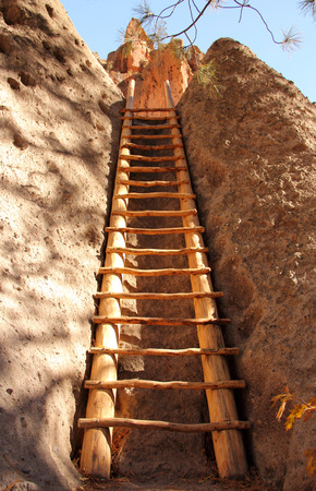 anasazi ruins: A ladder leads visitors to the ancient Alcove House in Bandelier National Monument, New Mexico