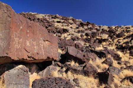 Native American Rock Art along the Rinconada Trail in Petroglyph National Monument, New Mexico