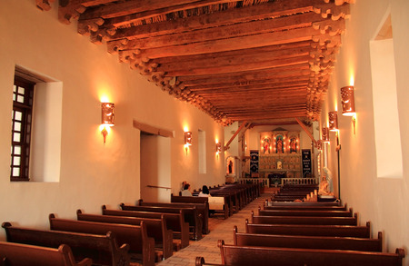 represents: Mission Socorro, with its fine architectural interior, represents one of the three historic missions along the El Paso Mission Trail