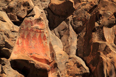 pueblo: Native American Rock Art, Gila Cliff Dwellings National Monument in the Gila National Forest, New Mexico Stock Photo