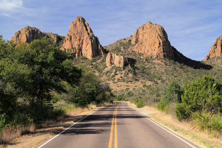 Scenic Road in Big Bend National Park, Texas Stock Photo