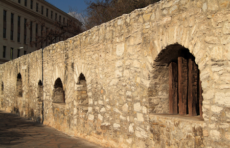 Mission San Antonio de Valero, better known as the Alamo, in downtown San Antonio, Texas Stock Photo
