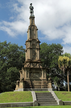 The Confederate Memorial is one of the more prominent landmarks in Forsyth Park, Savannah, Georgia