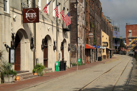 SAVANNAH, GA - JULY 25: River Street, with its abundant historic buildings, restaurants, and shops, is perhaps the most inviting attraction the city of Savannah has to offer July 25, 2017 in Savannah, GA