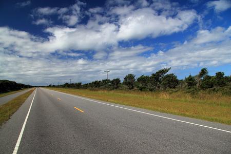 Scenic Road through Ocracoke Island, Cape Hatteras National Seashore, North Carolina