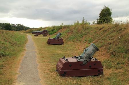 Colonial Era Artillery at the Yorktown Battlefield, Colonial National Historical Park, Virginia Stock Photo