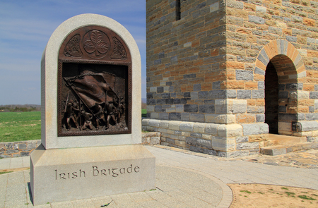 The Irish Brigade Monument, at the end of Bloody Lane, honors Irish volunteers of the 63rd, 69th, and 88th N.Y. Voluntary Infantry Regiments April 14, 2018 in Sharpsburg, MD