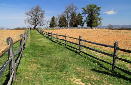 An idyllic trail leads to the historic Mumma Cemetery, part of the Mumma Farmstead at Antietam National Battlefield in the state of Maryland April 14, 2018 in Sharpsburg, MD