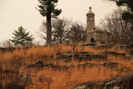 The 12th & 44th New York Volunteers Monument at Little Round Top is one of the most elaborate memorials in Gettysburg National Military Park April 15, 2018 in Gettysburg, PA