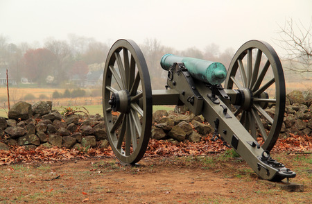 Artillery on Seminary Ridge in Gettysburg National Military Park marks positions held by Confederates during the Battle of Gettysburg April 15, 2018 in Gettysburg, PA