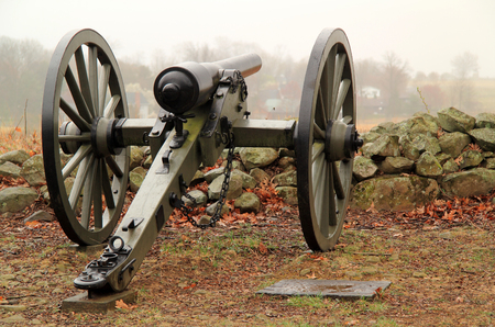 Artillery on Seminary Ridge in Gettysburg National Military Park marks positions held by Confederates during the Battle of Gettysburg April 15, 2018 in Gettysburg, PA Editorial