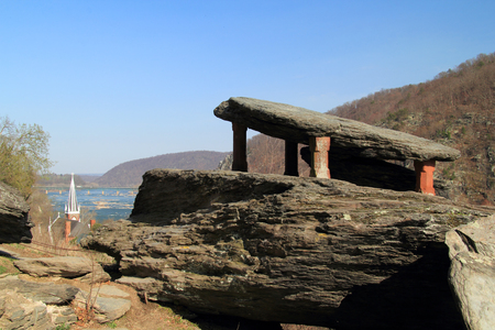 Overlooking the Shenandoah River, Jefferson Rock is a notable landmark along the Appalachian Trail, which passes through Harpers Ferry National Historical Park in West Virginia, Virginia, and Maryland