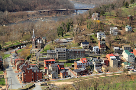 Maryland Heights offers one of the impressive views of historic Harpers Ferry, which was involved in numerous Civil War engagements and was the site of a failed slave rebellion in October 1859 Stock fotó