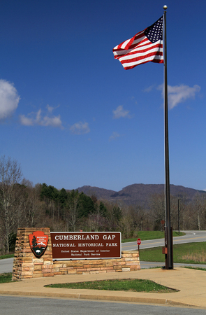 A sign welcomes visitors to Cumberland Gap National Historical Park, which straddles the border between Tennessee, Kentucky, and Virginia