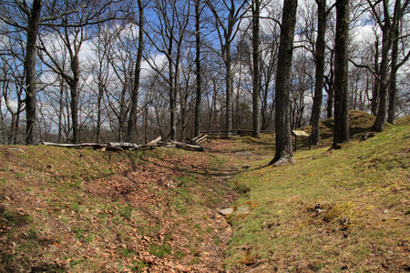 The ruins of Fort Lyons, a Civil War era earthen fort, are still visible to visitors touring Cumberland Gap National Historical Park