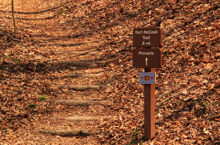 A well maintained trail leads the adventurous to the ruins of Fort McCook, a Civil War era fortification located in Cumberland Gap National Historical Park Stock fotó