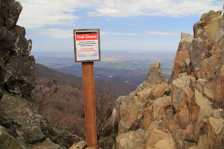 A sign marks a closure along the Stony Man Trail in Shenandoah National Park, Virginia