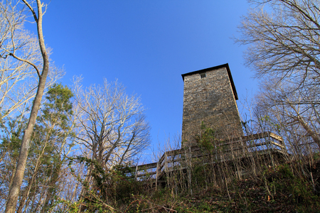 For many years the Jackson Ferry Shot Tower was the site of ammunition manufacturing that served the military needs of early America, Shot Tower Historical State Park in the U.S. State of Virginia