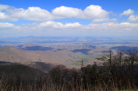 The view of the Arnold Valley is one of the numerous viewpoints located along the Blue Ridge Parkway in the state of Virginia Stock Photo