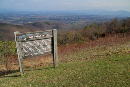 An interpretive sign along the Blue Ridge Parkway explains the natural history of the Great Valley in the state of Virginia