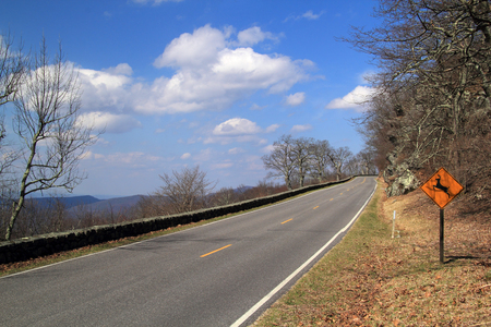 Scenic Skyline Drive makes its way through the Appalachian Mountains in beautiful Shenandoah National Park, located in the western part of the state of Virginia in the United States