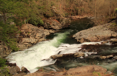Partially located in Great Smokey Mountains National Park, the Little River offers some of the most splendid scenery in the southeastern United States 版權商用圖片