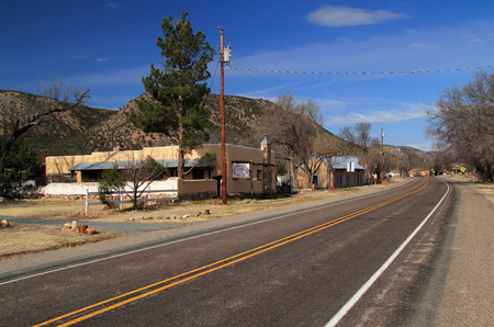 The main street through Lincoln, New Mexico, passes in front of numerous old structures that featured prominently in the infamous Lincoln County War