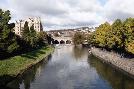 Pulteney Bridge crossing the river avon in Bath, Somerset, England photo