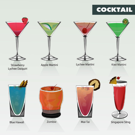 nue plage: L'alcool et les boissons cocktails icon set