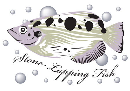 the miller: Stone lapping fish with air bubble background. Illustration
