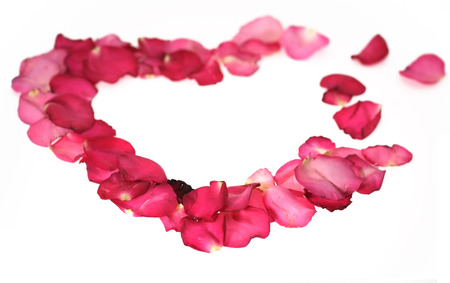 broken relationship: Broken heart of red rose petals isolated on white background  Stock Photo
