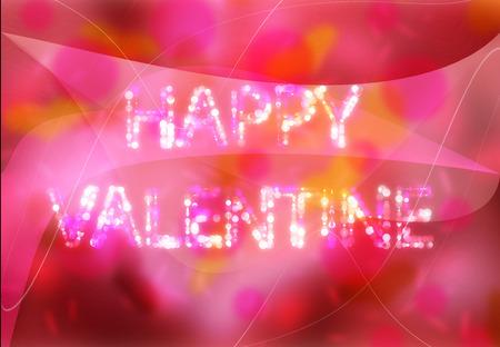 de focus: Caption word HAPPY VALENTINE on pink background