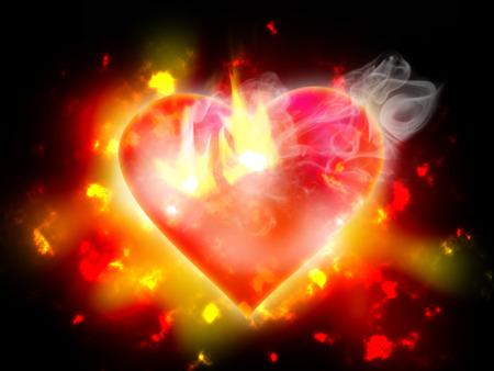 Burning heart on black background  photo