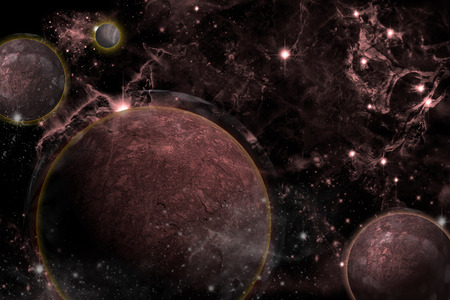 Planet landscape in space, digital retouch. photo