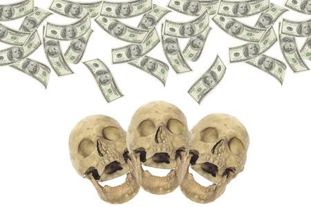 transfer pricing: Hundred-dollar bills with three skulls. Stock Photo