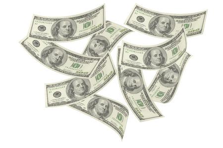 transfer pricing: Hundred-dollar bills on white background.