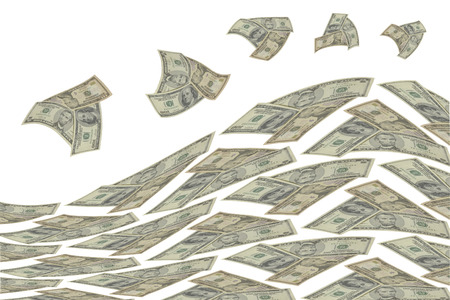 transfer pricing: Wave of money on white background  Stock Photo