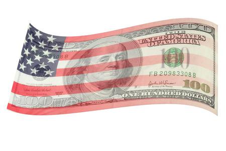 USA vlag zacht op honderd dollar bill, op witte achtergrond Stockfoto