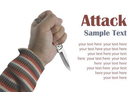 penknife: Temperino in mano con testo di esempio su sfondo bianco.
