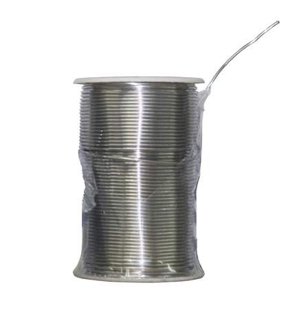 Thick roll of thin welding steel wire on white background