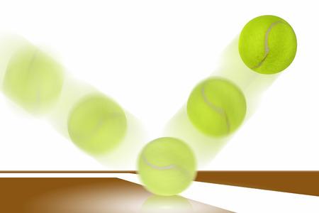 Tennis ball bounces on court  免版税图像