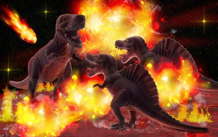 meteorites: Meteorites falling to planet of dinosaur. Stock Photo