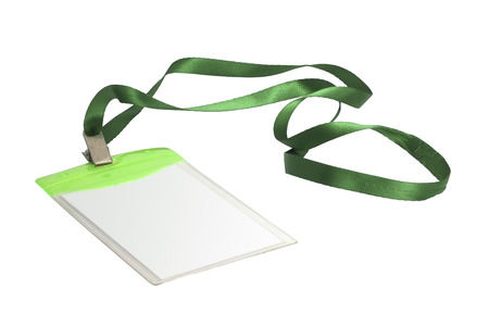neckband: Blank identification card with green neckband on white background